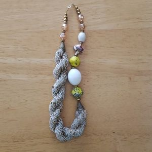 Handbeaded silver and gold necklace
